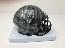 Mike Weber Ohio State Buckeyes Mini Grey Wolf Football Helmet JSA