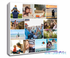 """CANVAS 16""""X16""""  FAMILY COLLAGE PERSONALISED PHOTO BIRTHDAY WEDDING HOLIDAY"""