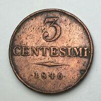 Dated : 1846 - Italy - 3 Centesimi Coin - Lombardy-Venetia - Ferdinand I