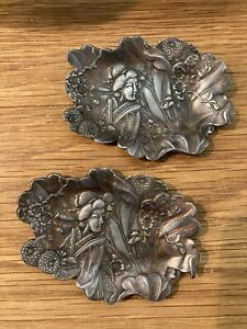 A Pair Of Japanese Pewter Moulded Dishes