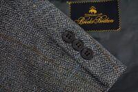 Brooks Brothers Gray Herringbone Multicolor Windowpane Sport Coat Jacket Sz 43R