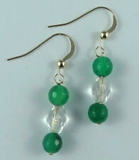 Crystal Earrings Clear Quartz Green Agate 14k Gold Filled