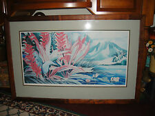 Superb Signed Lithograph Print-Chinese Or Japanese Theme-Mountains & Flowers-WOW