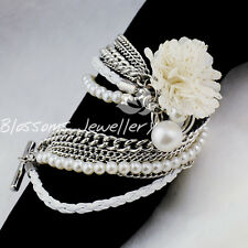 SILVER gp PEARL Bead chain Camellia Heart BRACELET A011
