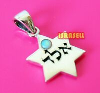 925 Silver & Blue Opal KABBALAH PROTECTION FROM EVIL EYE STAR OF DAVID PENDANT