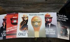 Vintage Smokey Bear Sign Lot - 6 Fire Prevention Cardboard Signs Forest Service