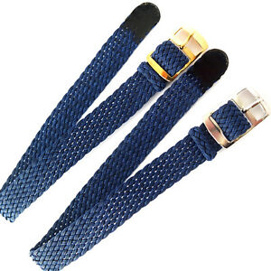 12mm DARK BLUE EASY FIT WOVEN FABRIC PERLON 1 PIECE WATCH STRAP. GOLD OR SILVER