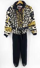 VTG Obermeyer Womens Ski Suit Size 6 Black Gold Leopard Print Belted One Piece