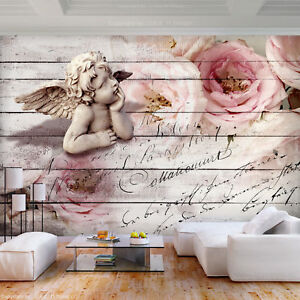 VLIES FOTOTAPETE Engel Blumen vintage rustikal TAPETE WANDBILDER XXL Wohnzimmer
