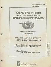 Chicago Pneumatic Vintage Rew 2 Rea 2 Rotary Air Compressor Parts Manual 1965
