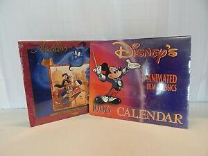 Set of 2 Disney Wall Calendars Aladdin 16 Mo Calendar & Animated Classics 1996