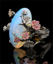 Women 925 Silver Ring Jewellery Wedding White Fire Opal Plum Flower Party Gift