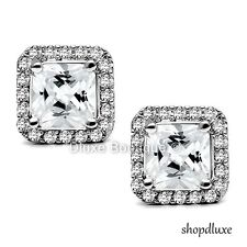 WOMEN'S 3.25 CT HALO PRINCESS CUT CZ STAINLESS STEEL STUD FASHION EARRINGS