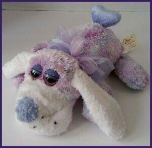 "Dan Dee Purple Dog Heart Plush Hound Tail Stuffed Valentines 9"" Chenille Tie Dye"