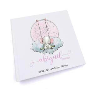 Personalised Baby Girl Photo Album Gift Elephant On Swing UV-15