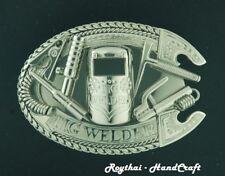 (7X10 CM) MEN BELT BUCKLE HANDMADE STAINLESS STEEL WESTERN STYLE TIG WELDER 4