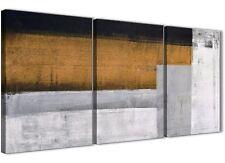 PANNELLO 3 Arancione Grigio DIPINTO camera da letto arredamento in Tela-ASTRATTO 3426 - 126 cm