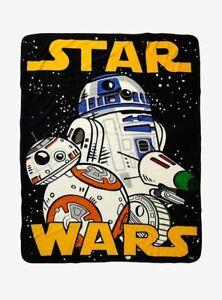 Star Wars Throw Blanket Rise of Skywalker Droids R2-D2 BB-8 D-O NEW