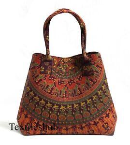 Multi Camel Mandala Women Shopping Purse Cotton Handbag Indian Handmade Tote Bag