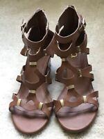 Women's XOXO Suzetta Open toe brown ankle strap sandals size 9M