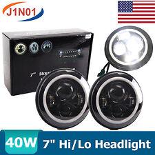 2X 40W 7inch Round LED Headlight with Angel Eyes JEEP Wrangler TJ CJ LJ Hummer