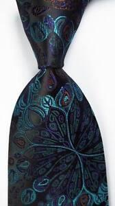 New Classic Floral Black Blue Brown JACQUARD WOVEN 100% Silk Men's Tie Necktie