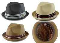 Mens Paper Straw Fedora Upturn Hat Stripe Band S/M, L/XL Black, Natural, Brown