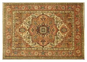 9x12 ft Wool Beige Woven Entirely by Hand Soft Pile Handmade Rug