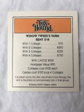 Disney Monopoly The Fox and The Hound Property Title Deed Replacement Card