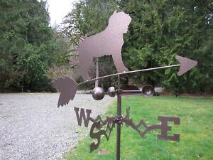 WEATHERVANE Dog on POLE - Swen Products BOUVIER DES FLANDRES DOG Steel Bronze