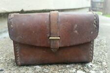 Vtg Antique Primitive Leather Fly Fishing Lure Tackle Box Brass Pouch Case Creel