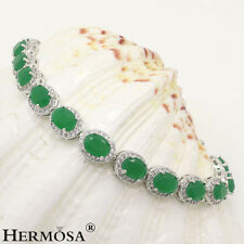 75% OFF Genuine 925 Sterling Silver Natural Green Emerald Links Bracelets 7""