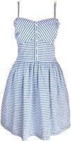 Superdry Dress Blue White Cotton Summer Nautical Breton Fit & Flare Dress M 8 10