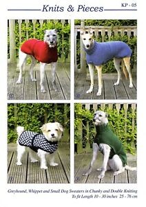 KP05 Greyhound and Whippet coats Knits & Pieces dog sweaters KNITTING PATTERN