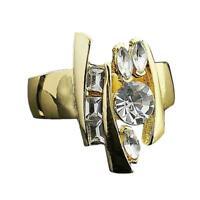 Exquisite frauen schmuck ringe galvanisch zirkon geometrie ring L0I7