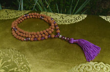 Besonders schöne MALA Gebetskette aus Rudraksha Perlen und AMETHYST aus Nepal!