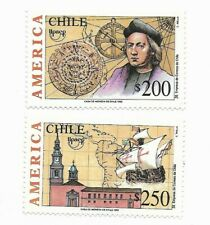 CHILE 1992, DISCOVERY OF AMERICA, COLOMBUS, SHIPS, MAPS, UPAEP, 2 VALUES MNH