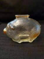 "PIGGY BANK Carnival Glass Pig Coin Saver Vintage Anchor Hocking Marigold 4"" Long"