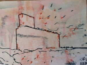 Harry Adams The Great Grain Elevator signed 2 colour artist proof monoprint