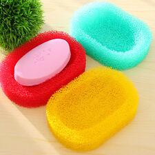 New Mesh Sponge Soap Dish Box Shower Hotel Holders Bathroom Kitchen keep clean