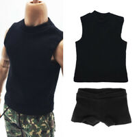1:6 Scale Male Black Underwear & Vest For 12inch Action Figures Hot Toys