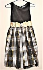 Emily West Girl's Dress Size 12 Black/Gold w/Velvet Top Dressy New