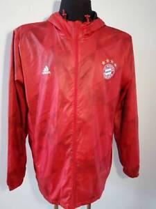 Bayern Munich Windbreaker Soccer Jacket Hoodie Adidas Men's Size XL RED