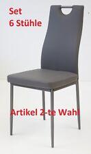 6 x Esszimmerstühle SALERNO Grau Esszimmerstuhl Küchenstuhl Stuhl Stühle 6er Set