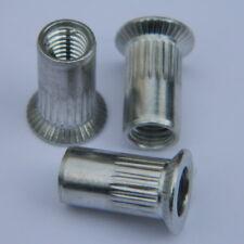 100 Stk Blindnietmuttern M3 Stahl verzinkt Flachkopf glatt klemmt 0,3-1,8mm