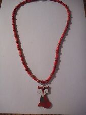 Fox pendant on coral river shell bead necklace