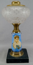 Antique Kerosene Oil Lamp With Portrait of Young Woman With Black Soapstone Base