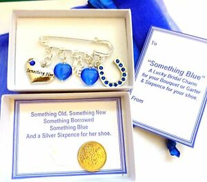Something Blue Lucky Horseshoe LOVE Hearts Bridal Brooch Charm & Sixpence +Box