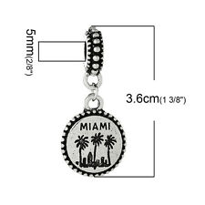 """Miami"" Charm Bead Spacer for Snake Chain Charm Bracelets 2690"