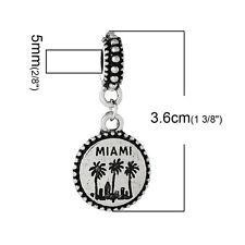"""Miami"" Charm Bead Spacer for Snake Chain Charm Bracelets 2690"